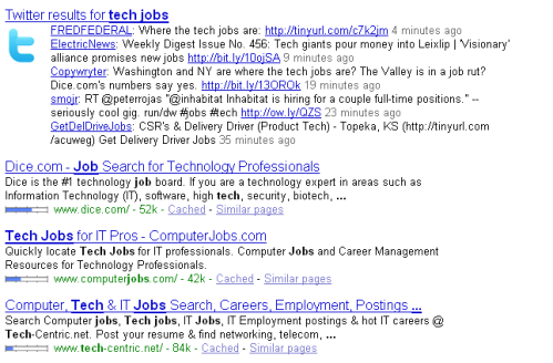 """tech jobs"": Twitter on top, Google on bottom"