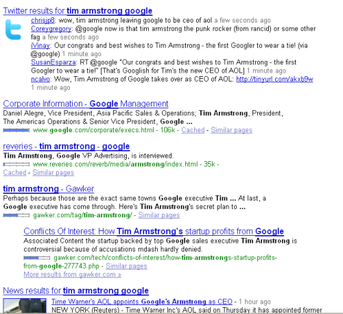 """tim armstrong"" search: Twitter at top, Google at bottom"